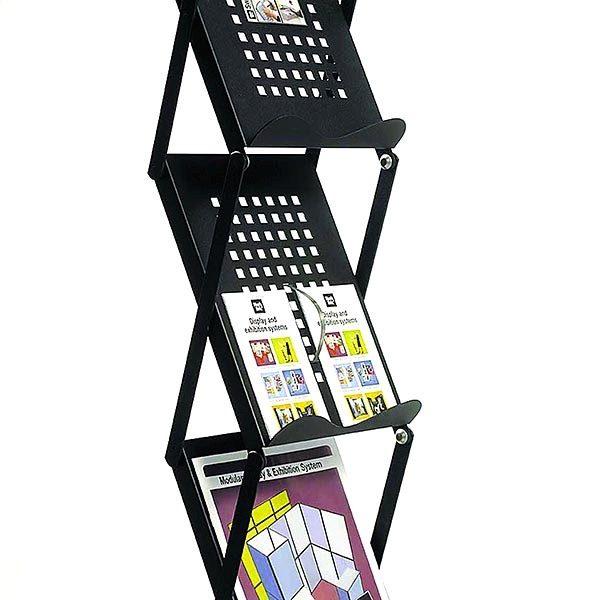 Falt Prospektständer Metallic Design schwarz 5 x DIN A4 3
