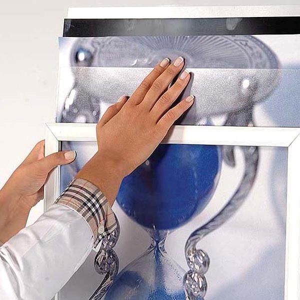 Ovalfuss Infoständer in silber DIN B2 Postermaß 10