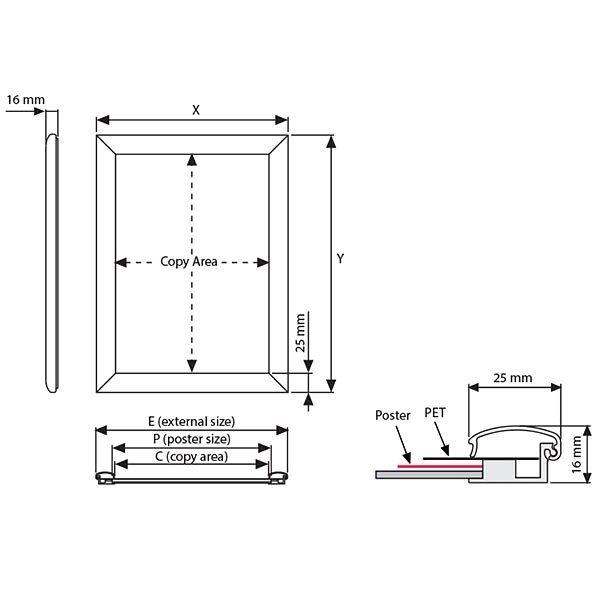 Wasserfester Klapprahmen 25mm DIN A3 Postermaß 4