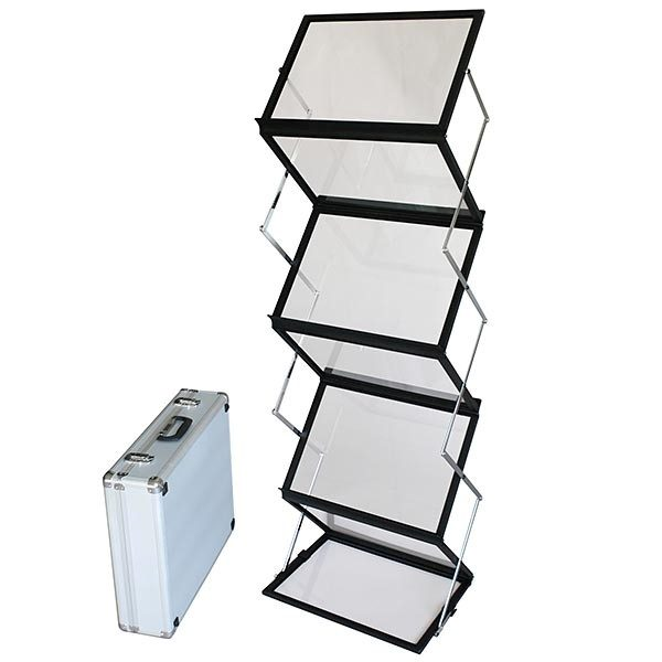 falt prospektständer acryl schwarz 6 x din a3 inkl. alu transportkoffer schwarz
