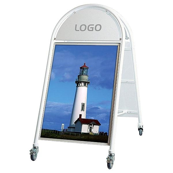 Stahlrohr-Kundenstopper New Gotik Lux 32 mm weiß DIN B2 Postermaß